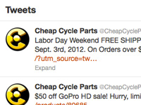 CheapCycleParts.com Twitter Page