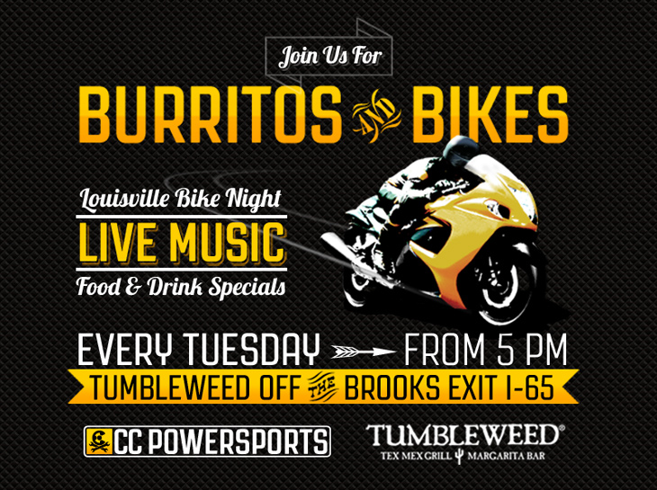 CC Powersports Burritos & Bikes Bike Night Poster